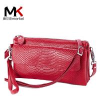 莫尔克(MERKEL)时尚牛皮女士手拿包多功能真皮斜跨多层小包软皮夹包女式蛇纹单肩手抓包