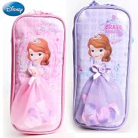 迪士尼公主多层笔袋小学生女铅笔袋大容量苏菲亚立体公主裙子文具盒笔袋