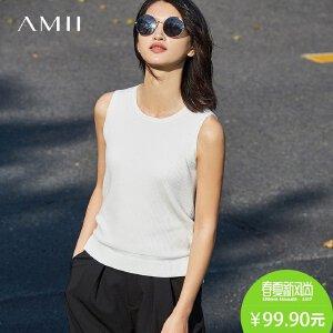 Amii[极简主义]2017春女新款纯色圆领无袖修身毛针织背心11771400