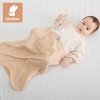 威尔贝鲁(WELLBER)宝宝睡袋小孩儿童竹棉7分袖透气信封睡袋婴儿防踢被春夏