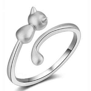 芭法娜 调皮猫系类 s925银戒指 猫咪造型 时尚可爱 开口戒指