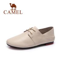 【专区满200减100】骆驼女鞋 春季新款系带休闲鞋 简约低跟小皮鞋内增高单鞋