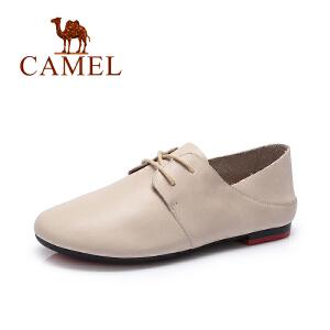 Camel/骆驼女鞋 春季新款系带休闲鞋 简约低跟小皮鞋内增高单鞋