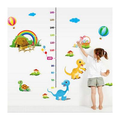 自粘墙纸贴画宝宝卧室幼儿园可移除卡通量身高贴纸墙贴_动物身高贴
