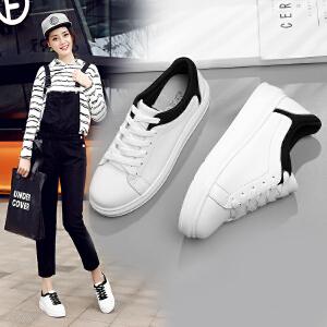 ZHR2017春季新款韩版真皮小白鞋女厚底单鞋休闲鞋平底鞋G111