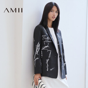 【AMII超级大牌日】[极简主义]2017年春新个性撞色涂鸦字母印花西装外套女11672914