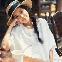 茵曼2017夏装新款圆领宽松百搭净色连身短袖衬衣女【1872013581】
