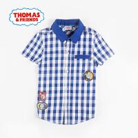 【满200减100】托马斯童装正版授权男童夏新品全棉短袖衬衫卡通上衣