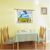 假窗风景墙纸贴画自粘卧室温馨浪漫床头可移除客厅欧式田园墙贴纸