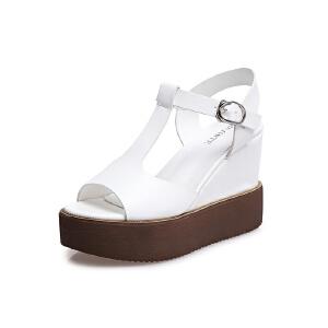 莎诗特2017新款坡跟凉鞋女夏厚底防水台鱼嘴鞋T型镂空罗马高跟鞋86071