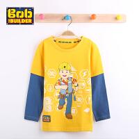 BOB童装巴布工程师春新款男童纯棉T恤长袖卡通圆领全棉打底衫