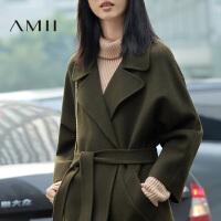 【AMII超级大牌日】[极简主义]2016冬装新品中长款纯色羊毛呢外套双面呢子大衣女