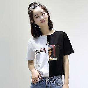 【当当年中庆】2017夏新款韩版女装图案字母印花拼色刺绣纯棉短袖T恤女学生