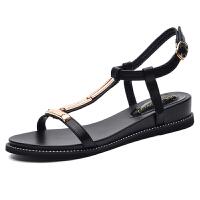 古奇天伦女式露趾坡跟凉鞋女夏百搭时尚中跟沙滩女鞋8682