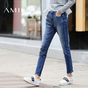 【AMII超级大牌日】[极简主义]2017年春装新款直筒修身洗水磨破牛仔裤女装长裤