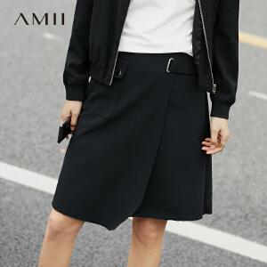 Amii[极简主义]2017春新时尚帅气盖式贴袋毛边半身裙11770939