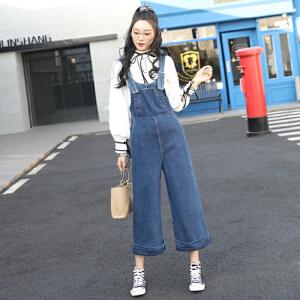 韩版背带宽松牛仔背带裤女翻边连体裤直筒裤