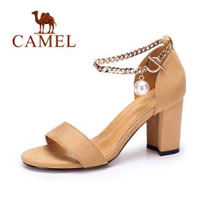 Camel/骆驼女鞋 2017夏季新品休闲百搭凉鞋露趾金属绊带高跟凉鞋