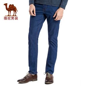 骆驼男装 2017春季新品男士商务休闲薄款中腰长裤子直筒牛仔裤男