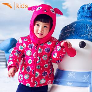 安踏女童羽绒服加厚冬 小女孩棉袄短款外套80%白鸭绒棉服36649910