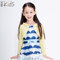 初语童装 2016冬季新款 女童 纯色长袖圆领开衫毛衣针织衫 T5304130022
