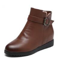 中年短靴冬季保暖防滑大码女鞋 中老年人妈妈鞋棉鞋 真皮老人女靴