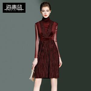 海青蓝2017春季新款高领打底衫两件套无袖褶皱连衣裙时尚套装7977