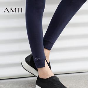 Amii[极简主义]2017春装新款大码修身薄款印花休闲长打底裤女外穿