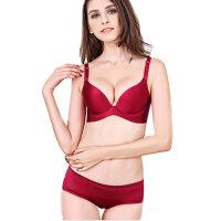 女文胸套装无钢圈无痕内衣 厚深V透气性感调整型