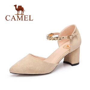 Camel/骆驼女鞋 2017春夏新款 气质尖头百搭高跟女鞋女神粗跟单鞋