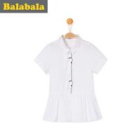 巴拉巴拉童装女童 短袖衬衫中大童半袖 上衣2017夏季 新款儿童衬衣女