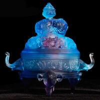 吉祥八宝香炉 莲花香炉古法琉璃摆件家居装饰品品摆件室内办公桌玄关摆件手工工艺品 蓝色