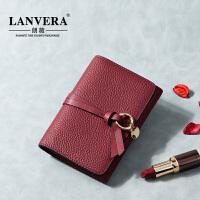 【支持礼品卡】LANVERA 2017新款欧美真皮女士手拿皮夹子薄款钱夹短款钱包女 L6602