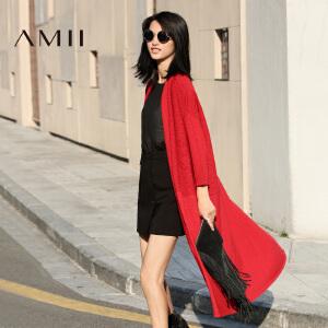 【AMII超级大牌日】[极简主义]2017年春新款百搭纯色宽松中长款长袖开衫女毛衣外套