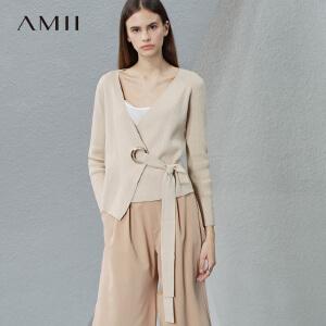 【预售】Amii 2017春新修身纯色大V领腰带开襟毛针织衫11781377