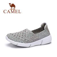 【专区满200减100】骆驼女鞋春夏新款镂空透气平跟女单鞋 舒适编织休闲鞋女鞋
