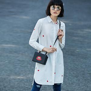 Amii[极简主义]2017春季直筒翻领刺绣中长款长袖衬衫女11770035