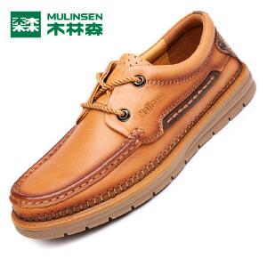 木林森木林森男鞋 新款男士户外休闲皮鞋 低帮系带百搭男皮鞋05367211
