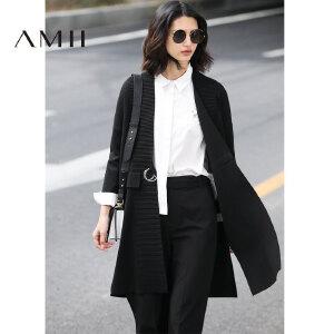 【预售】Amii2017春宽松活扣腰带落肩中长袖开襟针织衫11771336