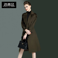 海青蓝2016冬装新款潮流个性长袖羊毛大衣时尚休闲毛呢外套女7103