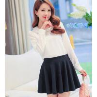 衬衫女 新款韩版修身纯色长袖雪纺衫女百搭打底衫甜美上衣