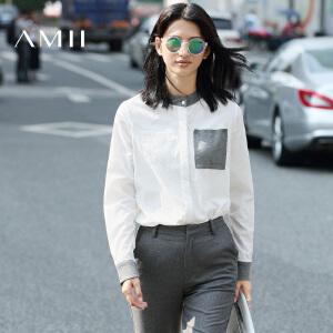 【AMII超级大牌日】[极简主义]2017年春新款通勤宽松大码立领长袖白衬衫女11672183