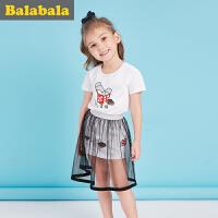 巴拉巴拉童装女童短袖套装小童宝宝2017夏款短袖T恤两件套女纱裙