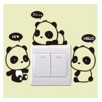 熊猫可移除墙贴纸贴画餐厅客厅卧室卡通创意开关贴插座墙壁装饰品