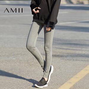 Amii2017春季新品时尚运动休闲弹力显瘦薄款外穿打底裤女