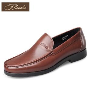 J.benato宾度男鞋夏季套脚鞋青年正装鞋英伦商务皮鞋男士圆头皮鞋