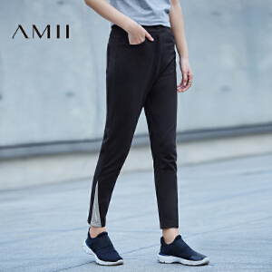 Amii[极简主义]2017春季直筒拼接插袋女高腰休闲九分裤11770280