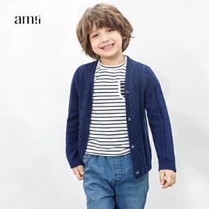 amii童装2017春新款男童外套纯棉针织开衫中大童儿童英伦绣花毛衣