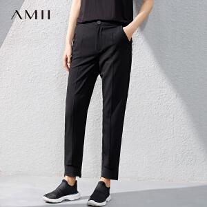 Amii[极简主义]2017夏女弹力拼接大码九分休闲西装裤11740978