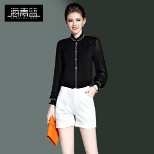 海青蓝2017春季新款时尚简约通勤衬衫长袖立领欧美雪纺衫女装8581